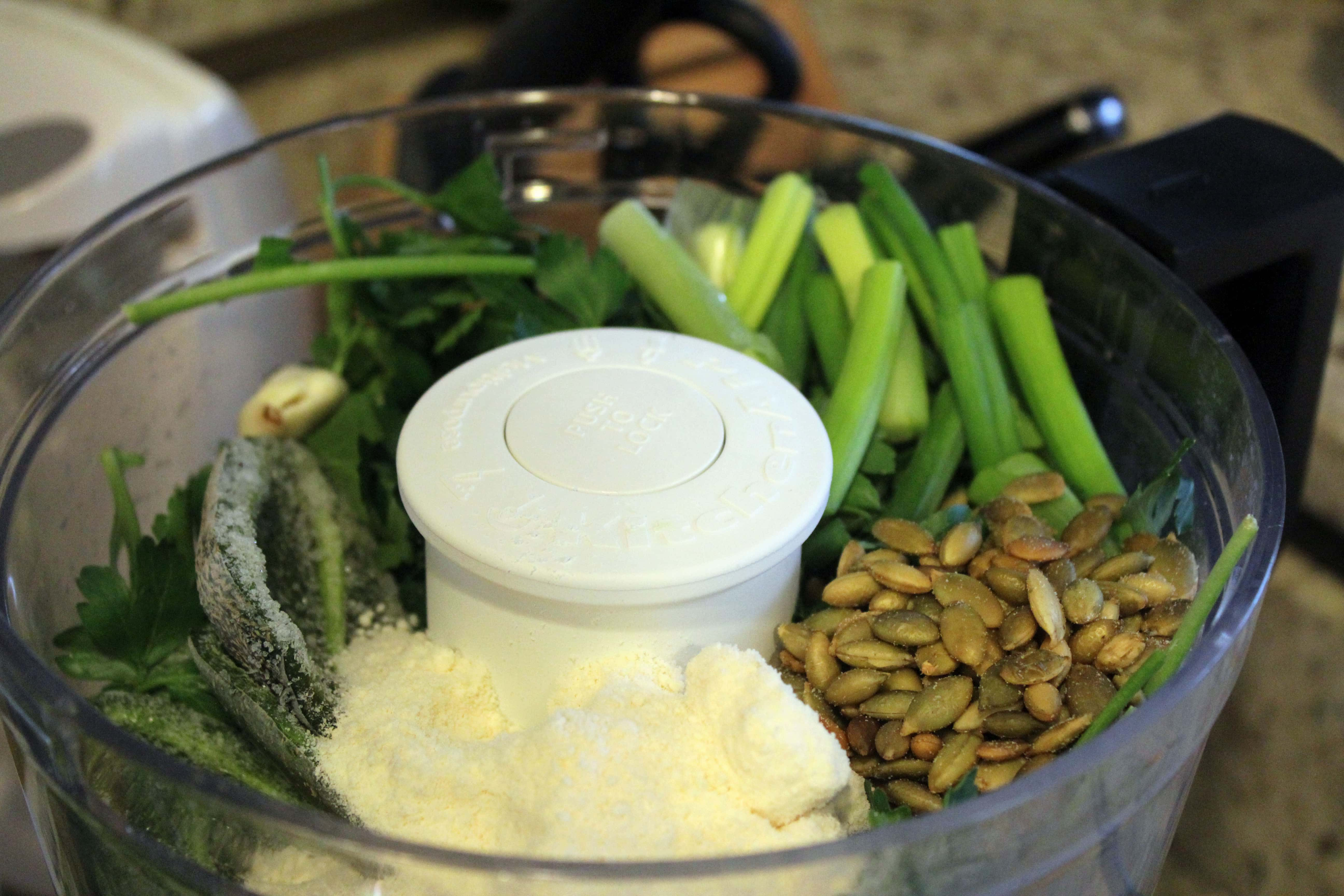 Add major ingredients to food processor