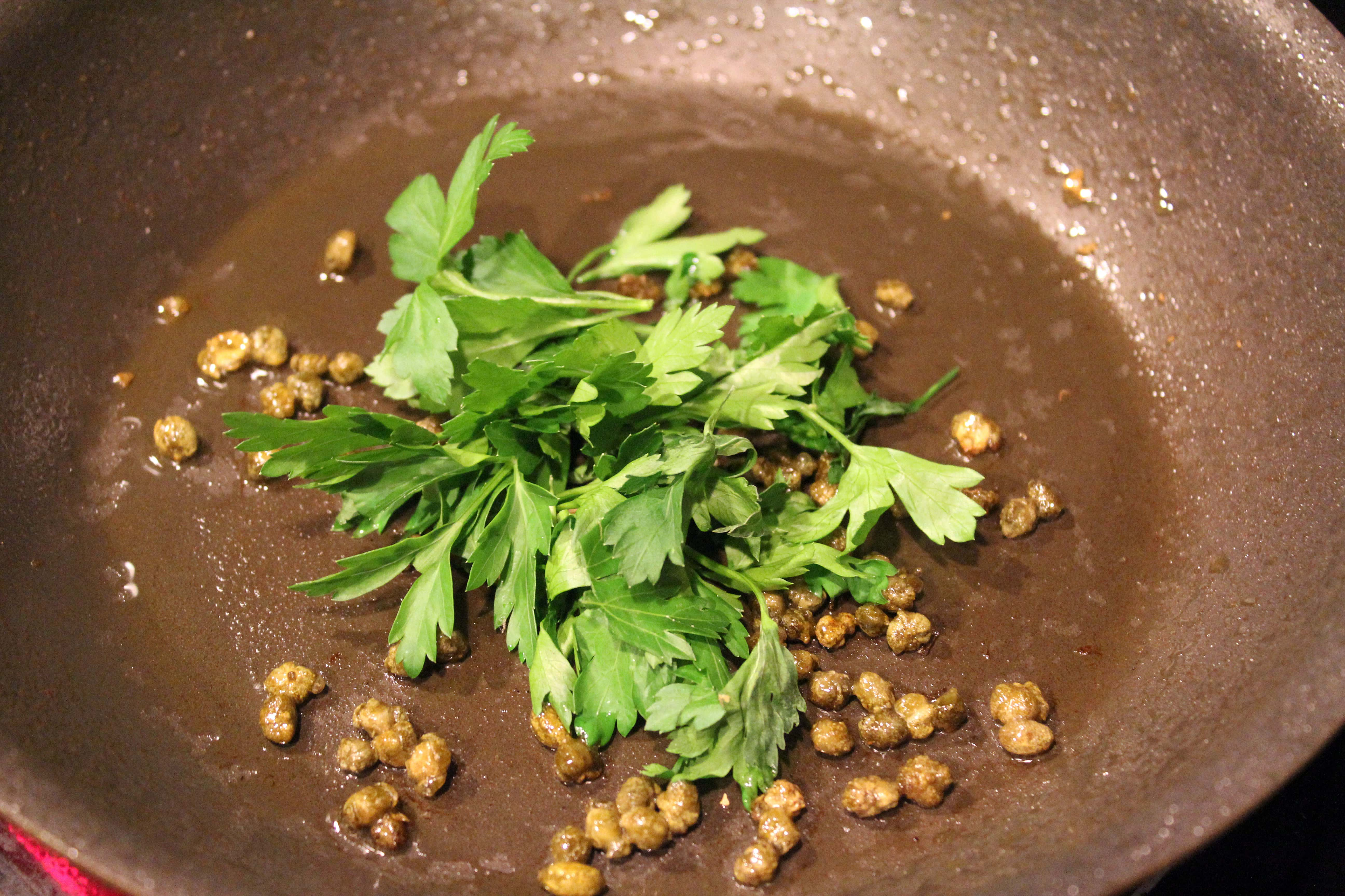 Add parsley to crispy capers