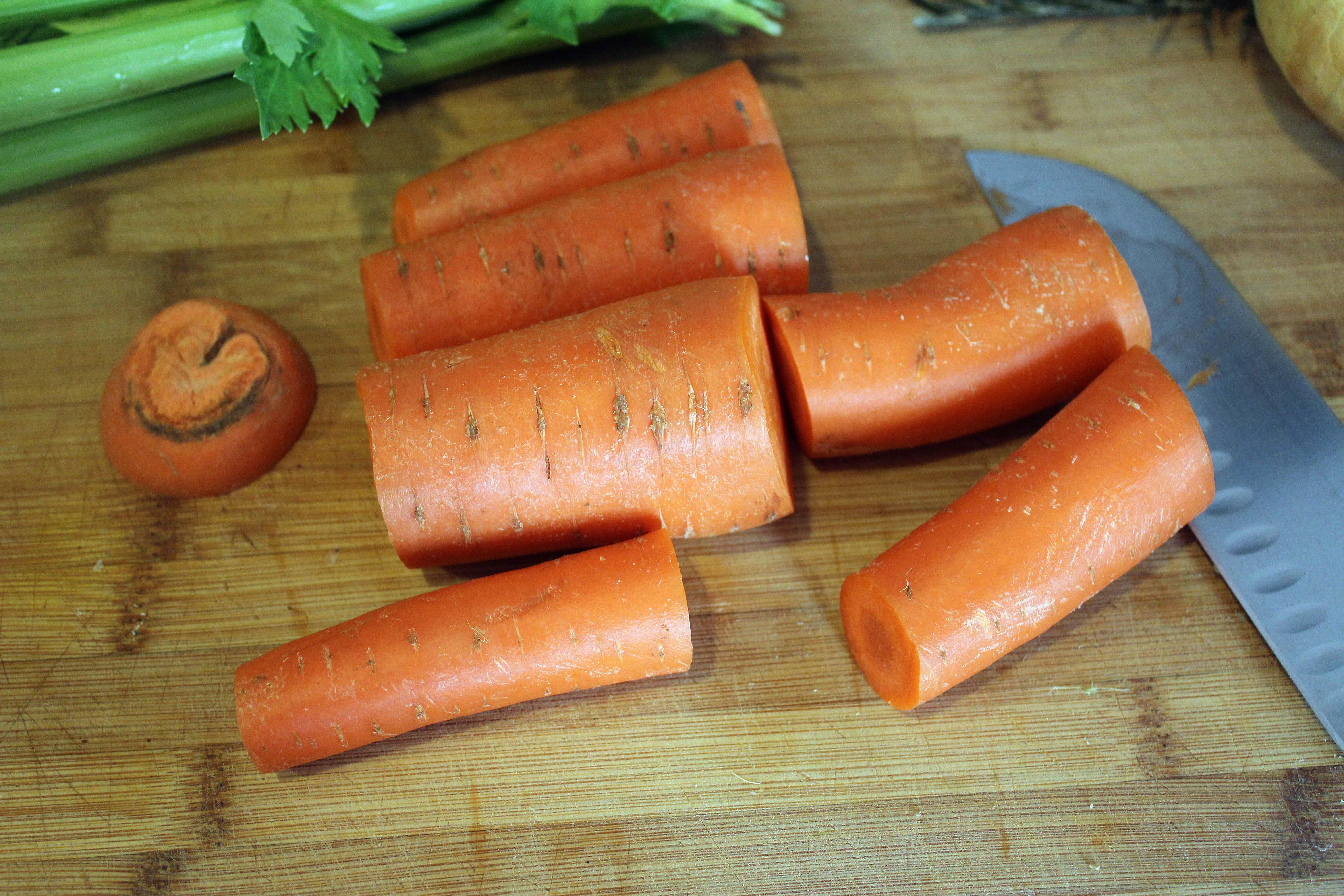 Cut carrots into chunks