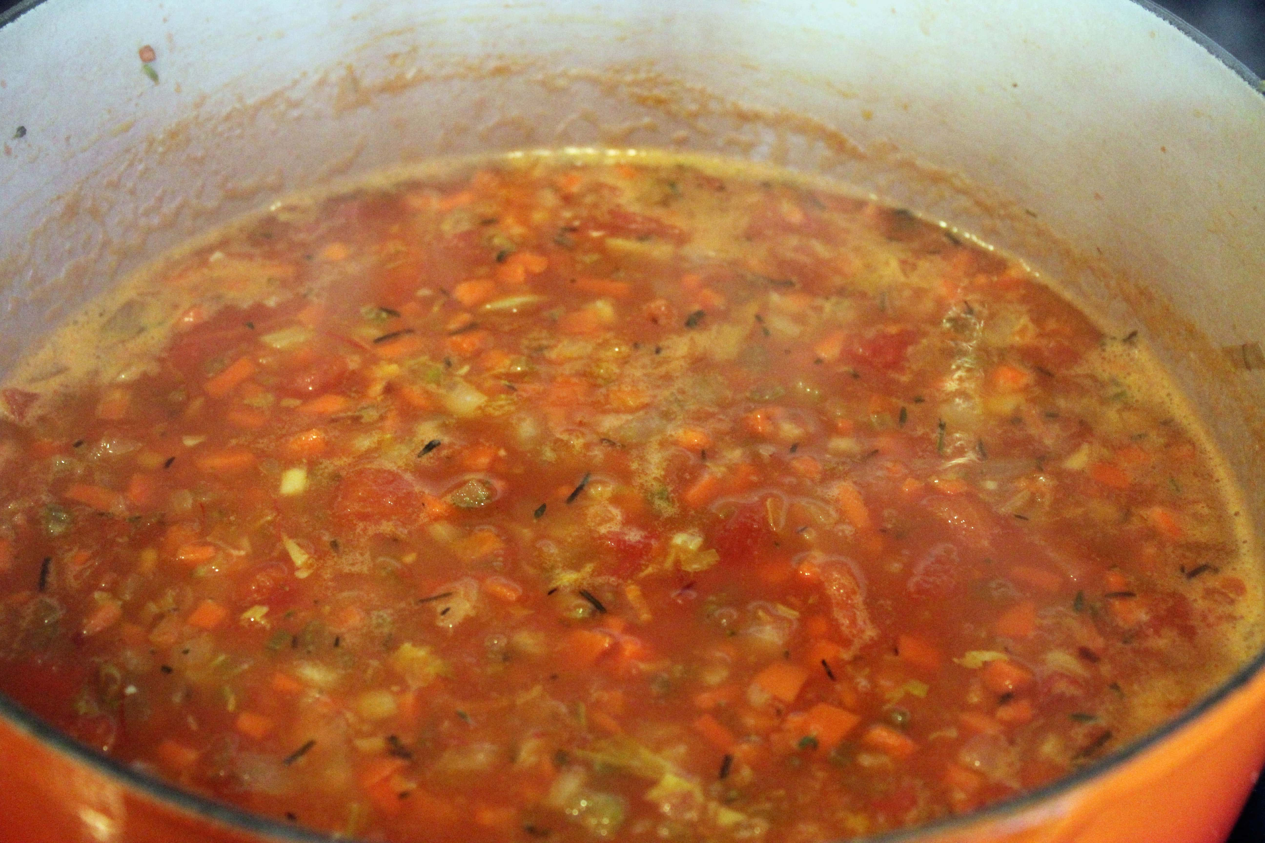 Let sauce simmer for 2 minutes before adding meat