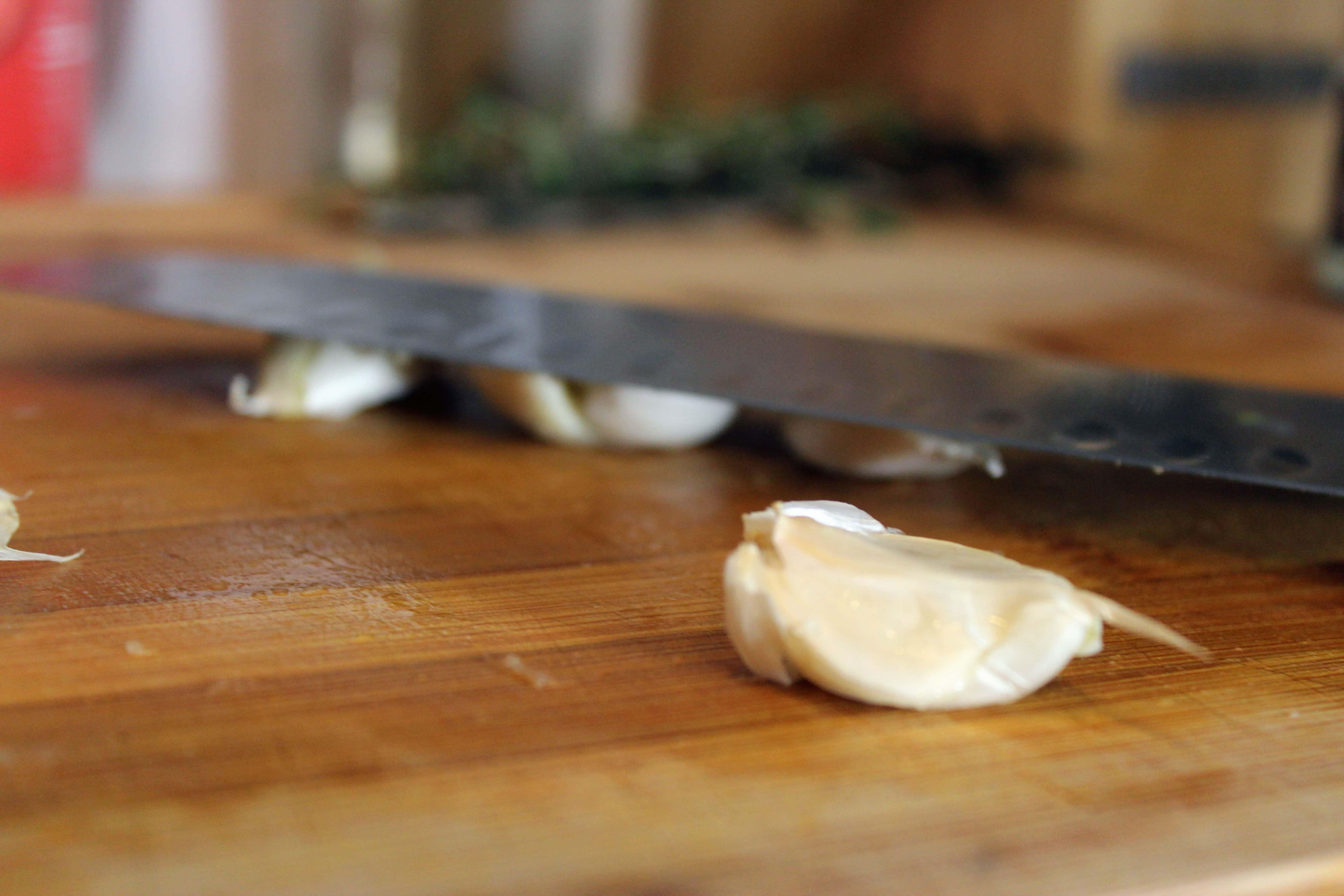 Smash the garlic
