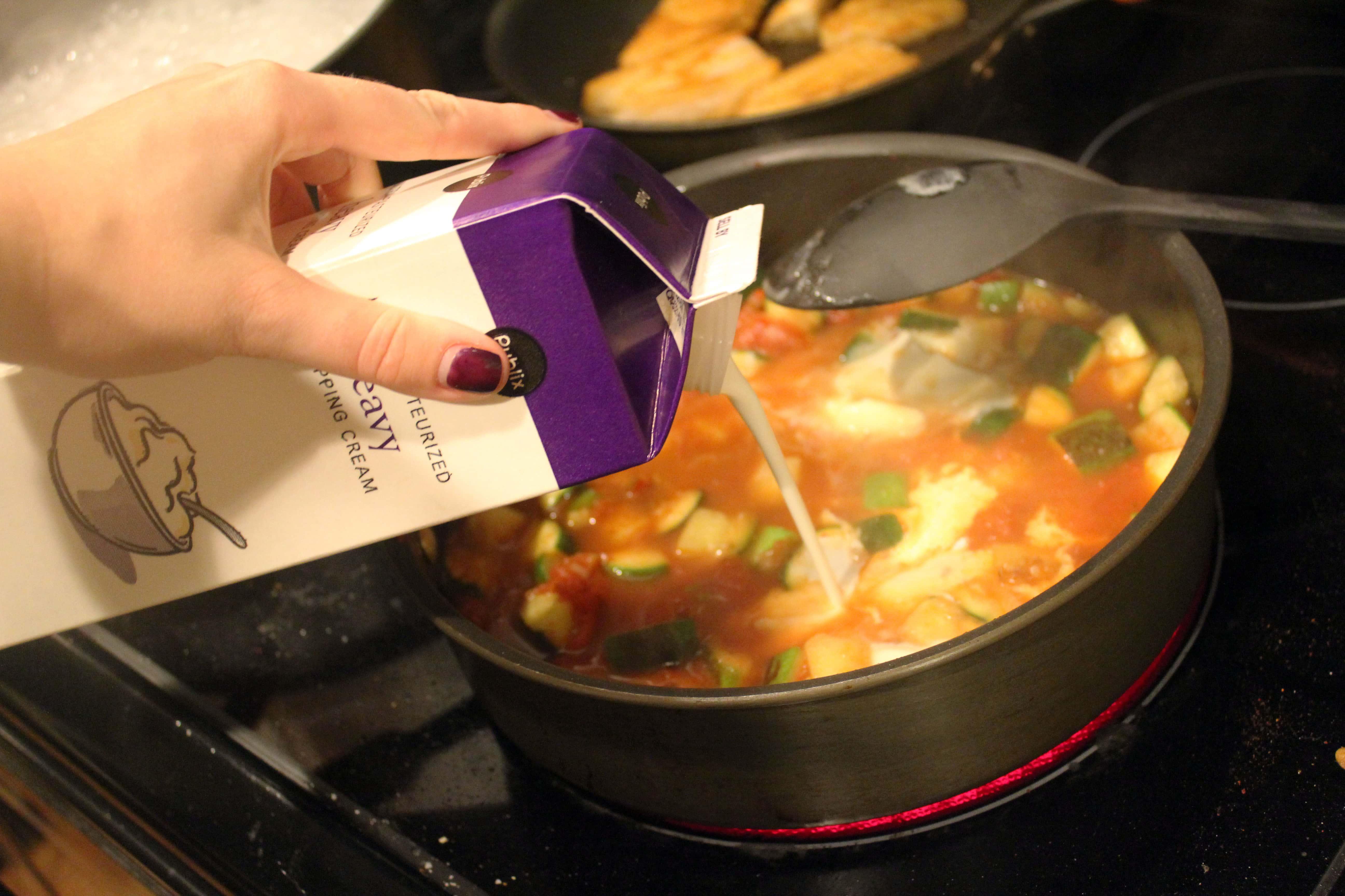 Add cream to sauce last