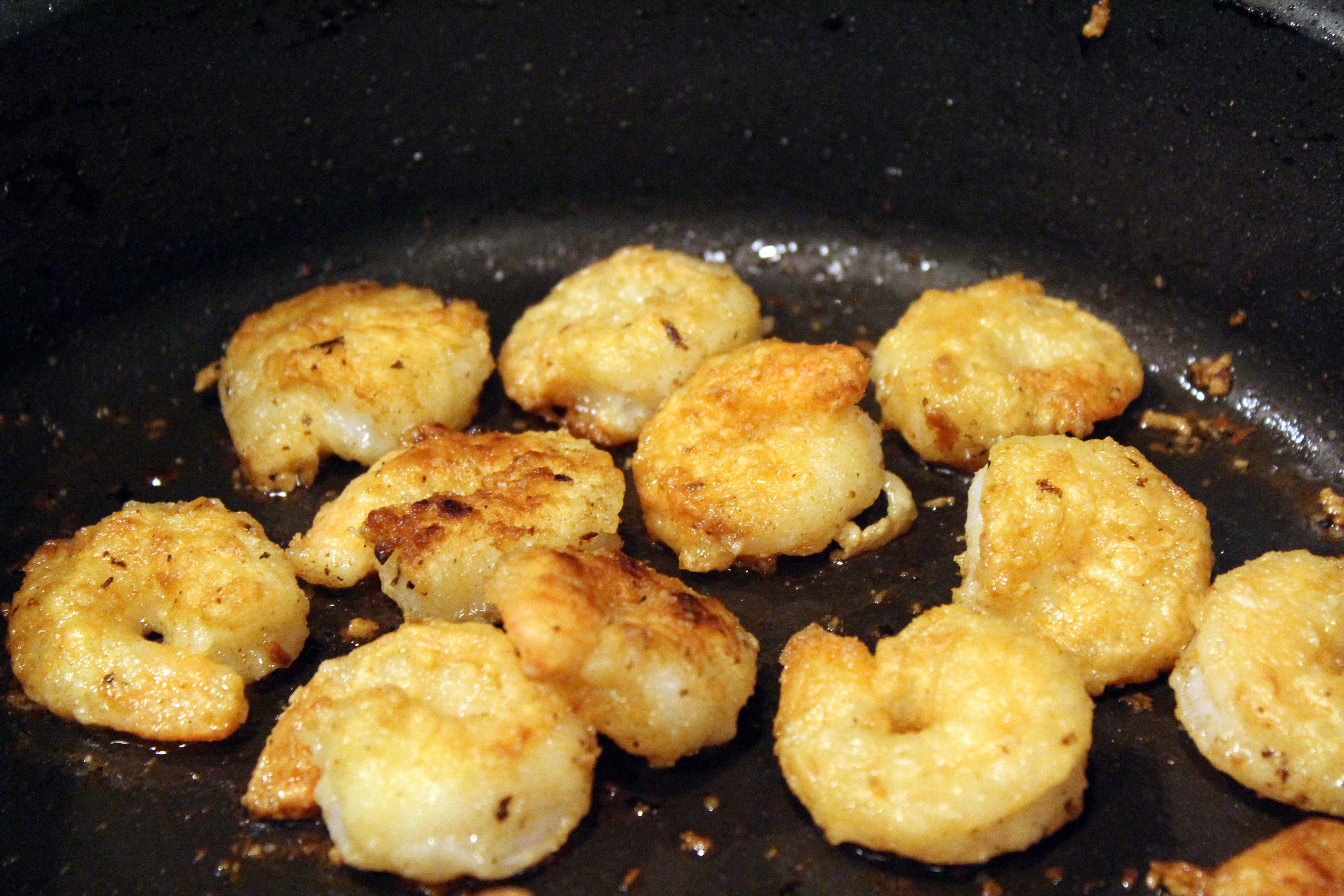 Let shrimp cook until crispy