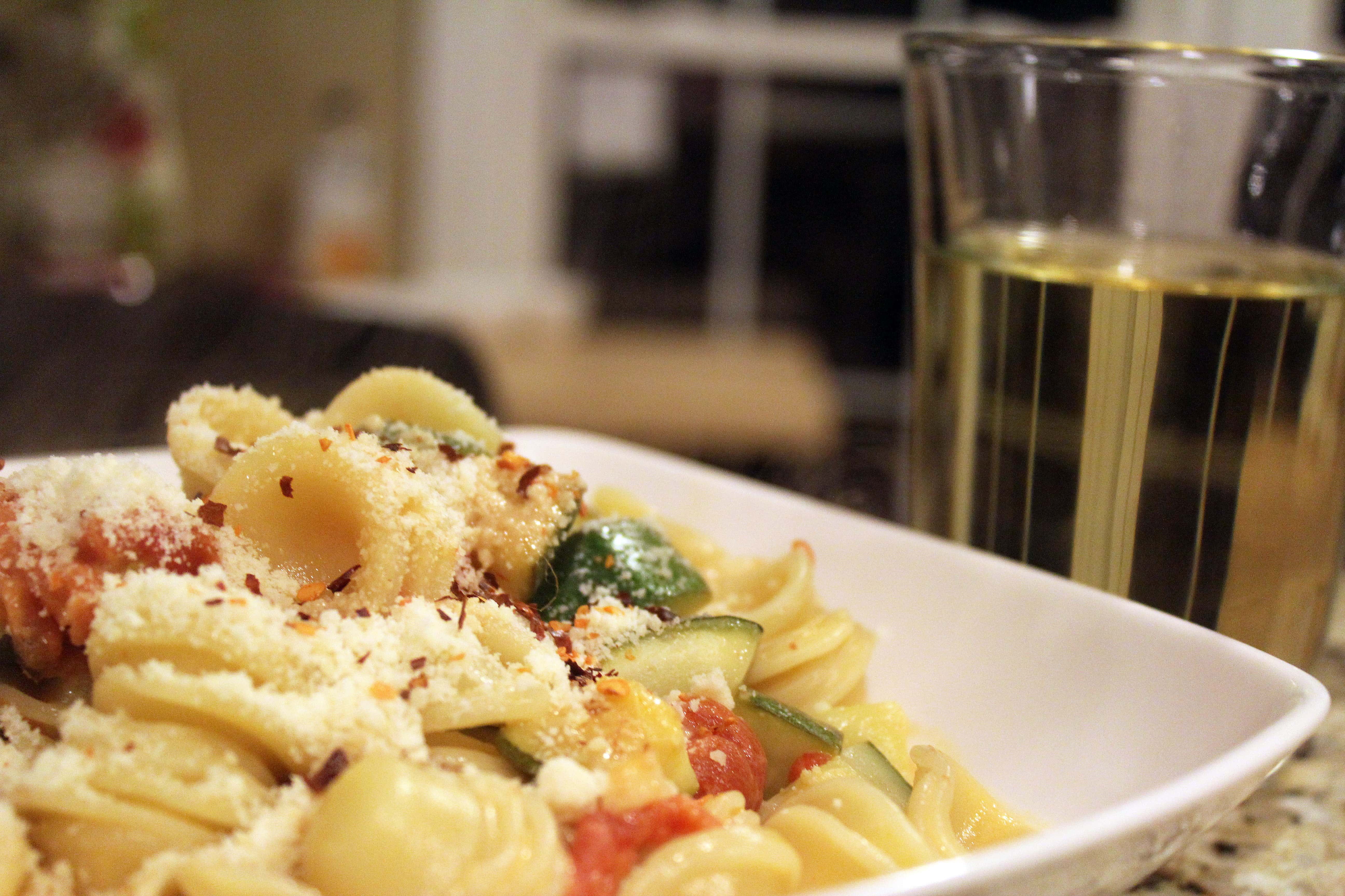 Serve pasta with wine