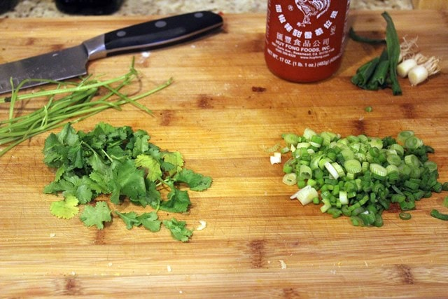 Chopped green stuff for topping