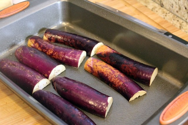 Eggplant face down to broil