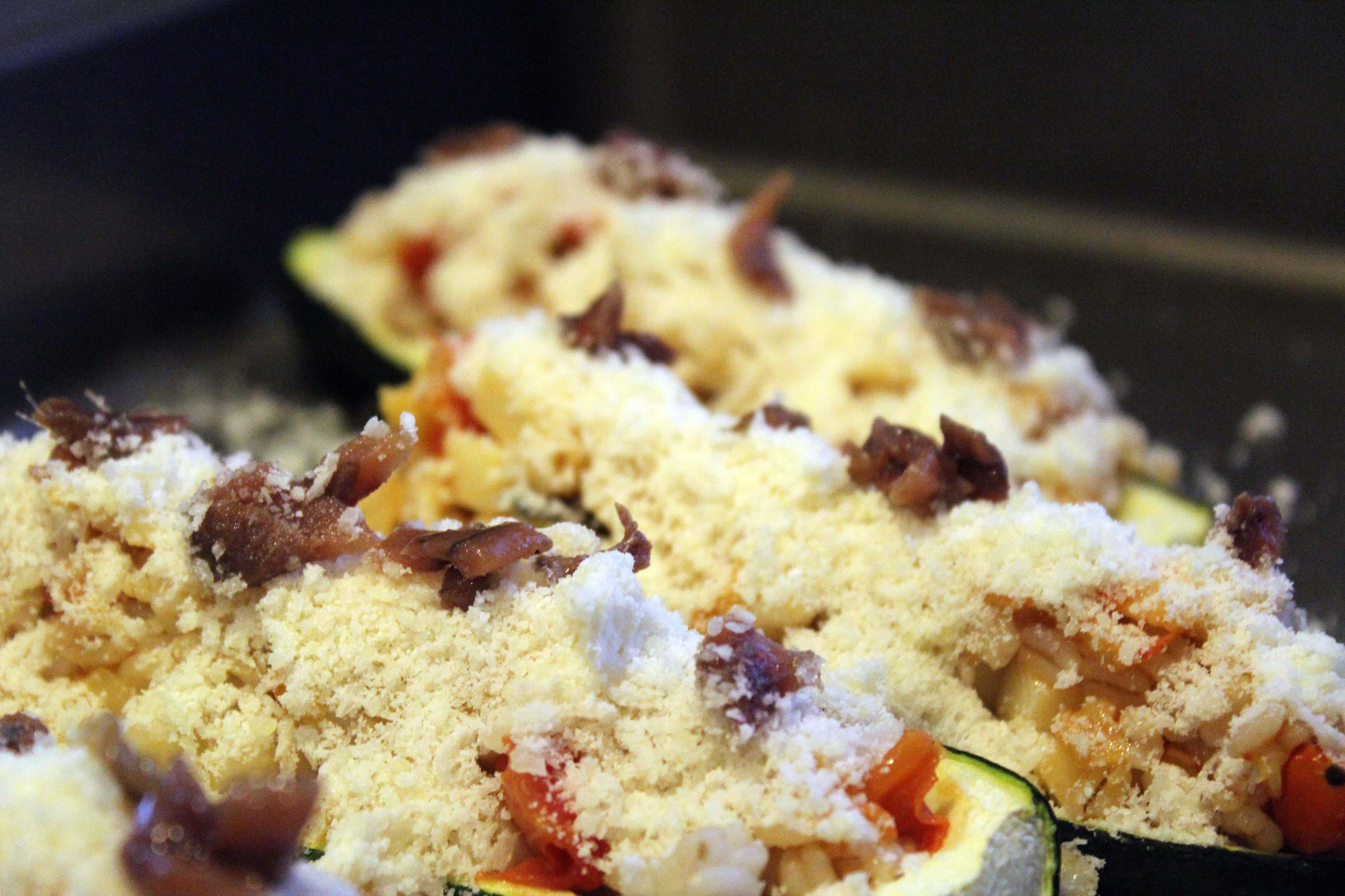 Add anchovy bits to zucchini