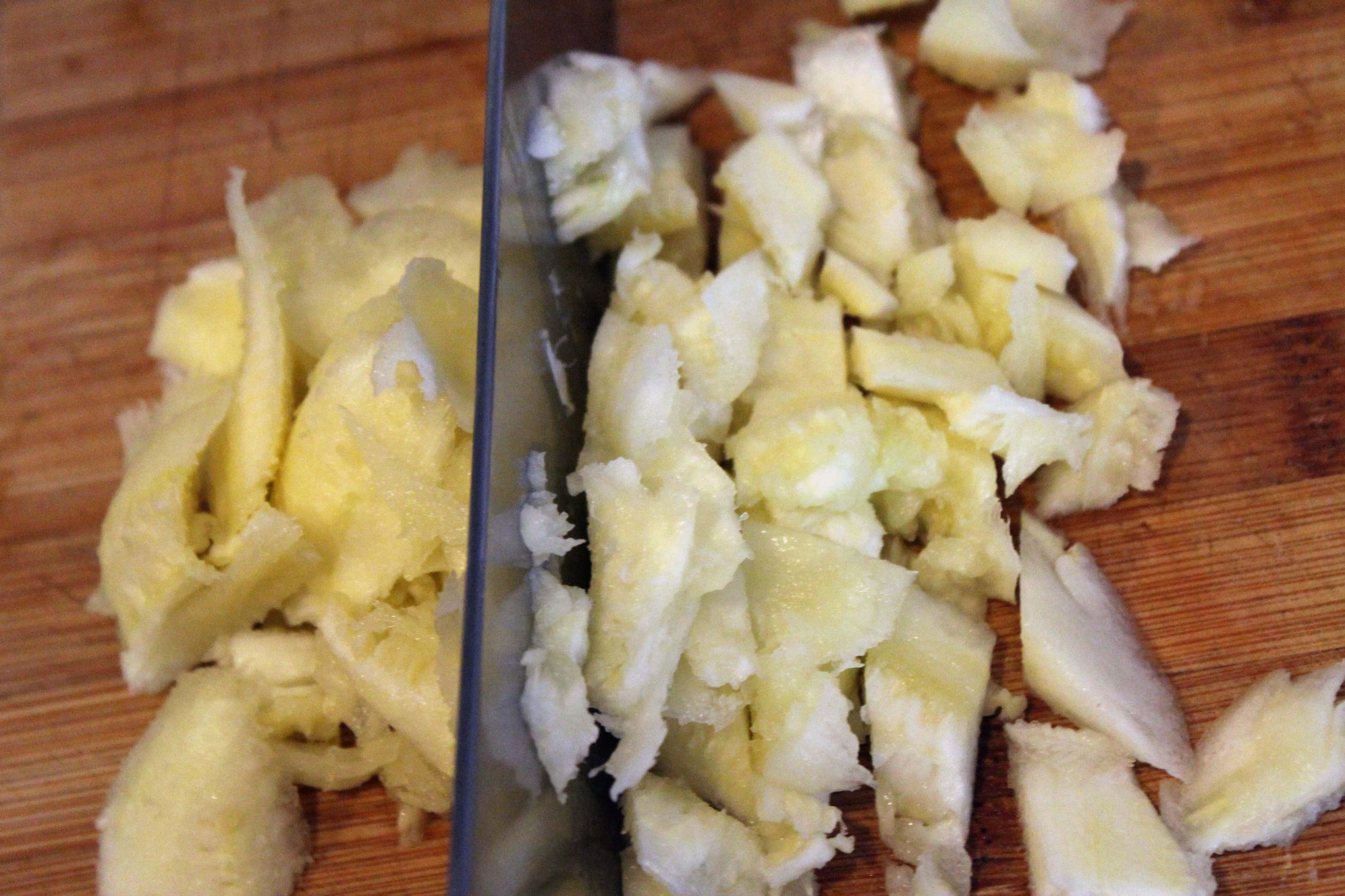 Roughly chop zucchini flesh