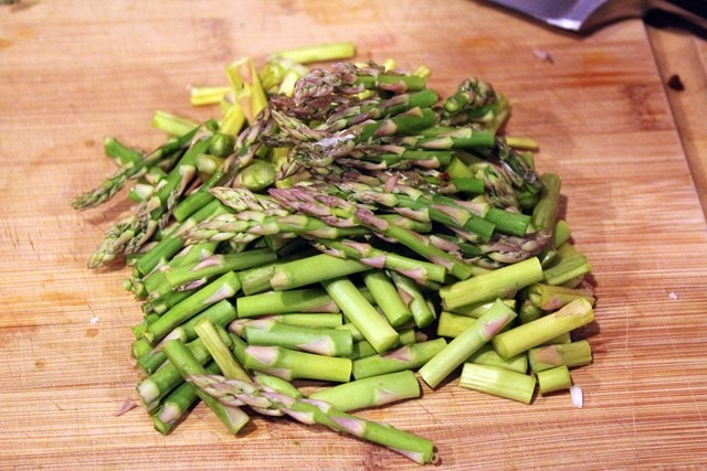 Cut asparagus into lengths
