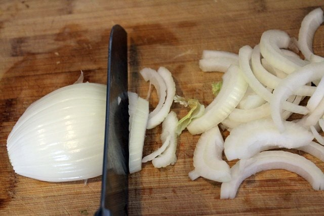 Thinly slice onion