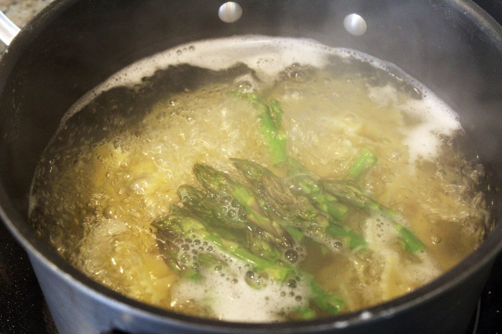 Boil asparagus right at the end