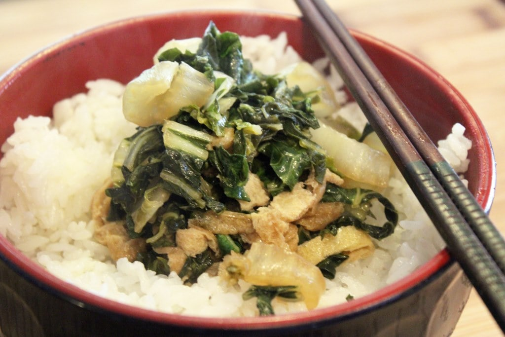 Bowl of greens and rice