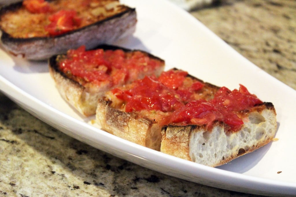 Crusty bread topped with extra tomato