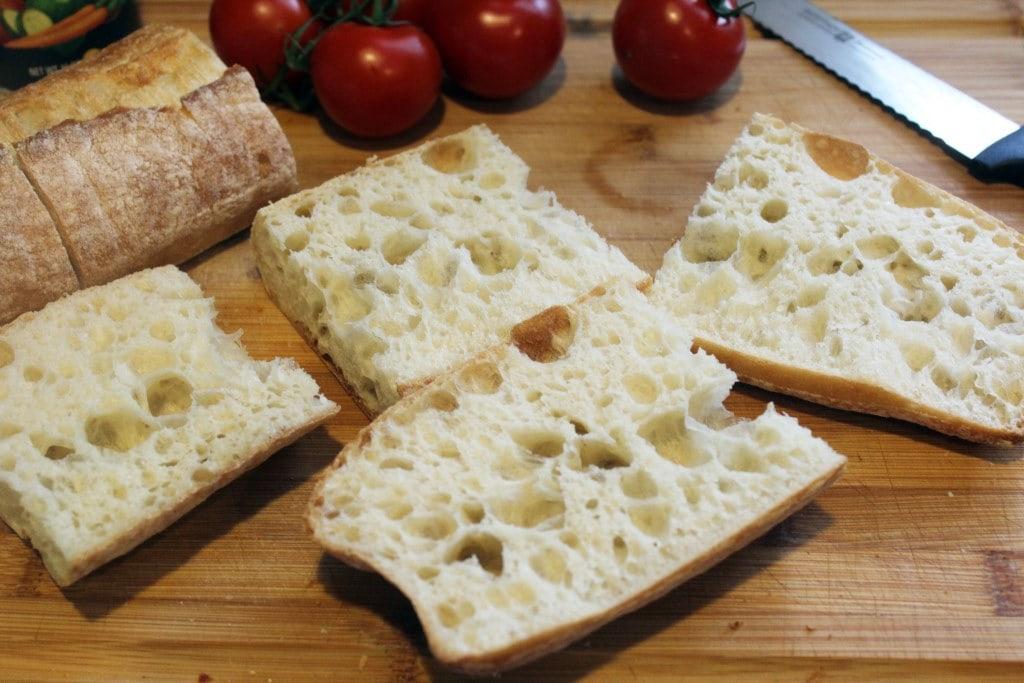 Halved raw bread