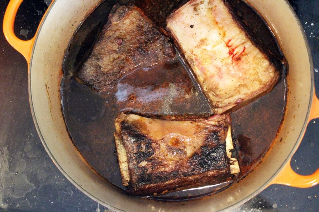 Add stock and ribs back to pot