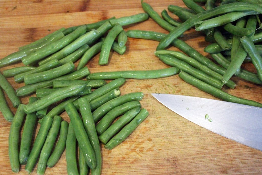 Cut green beans into lengths