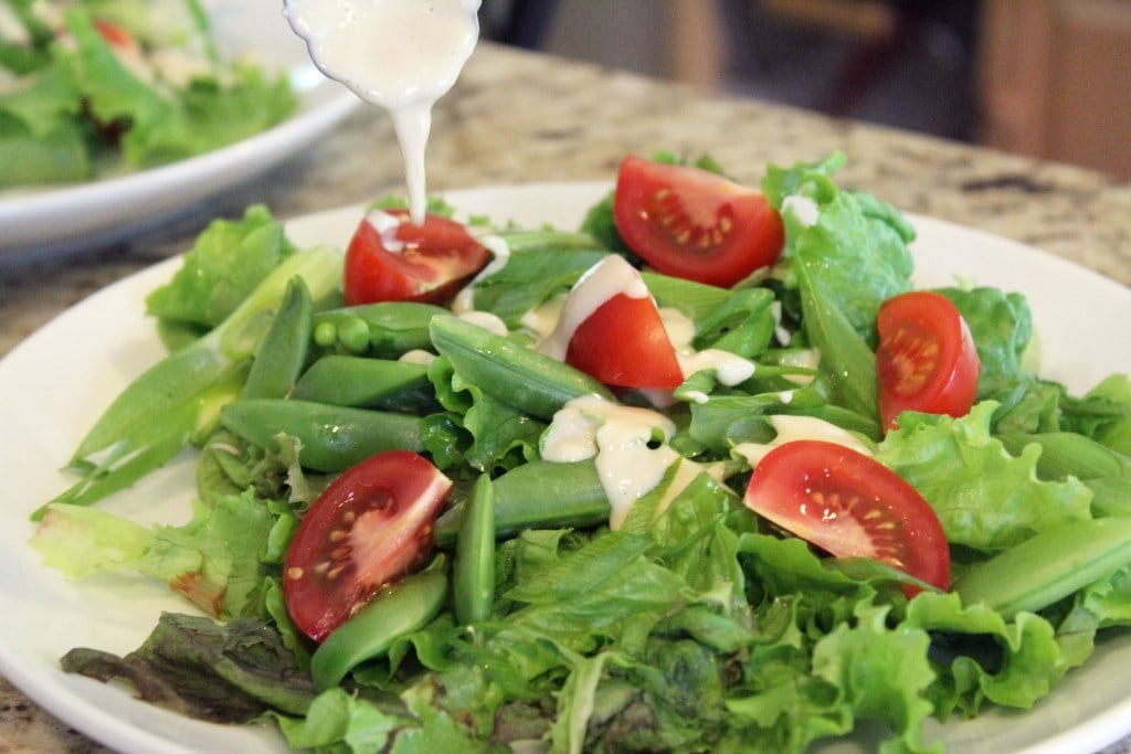 Drizzle dressing over veggies