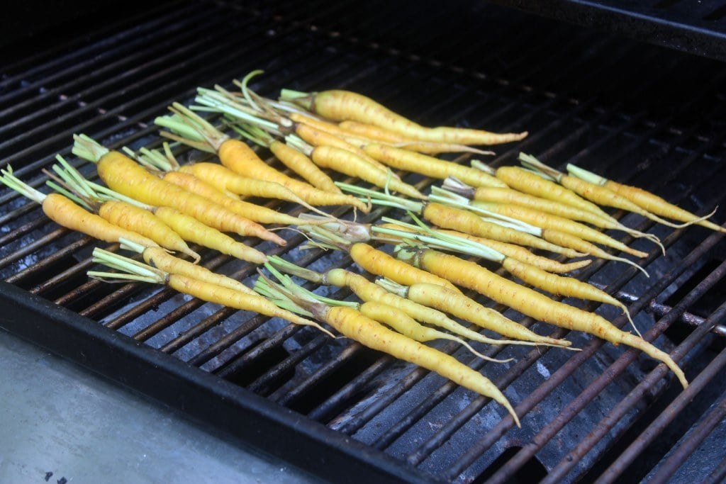 Start carrots on grill