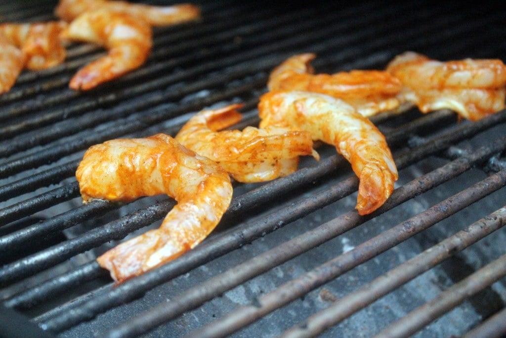 Start shrimp on hot grill