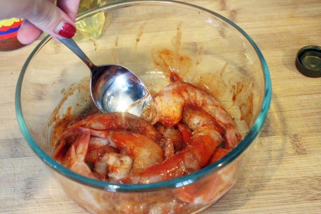 Stir seasonings all over shrimp