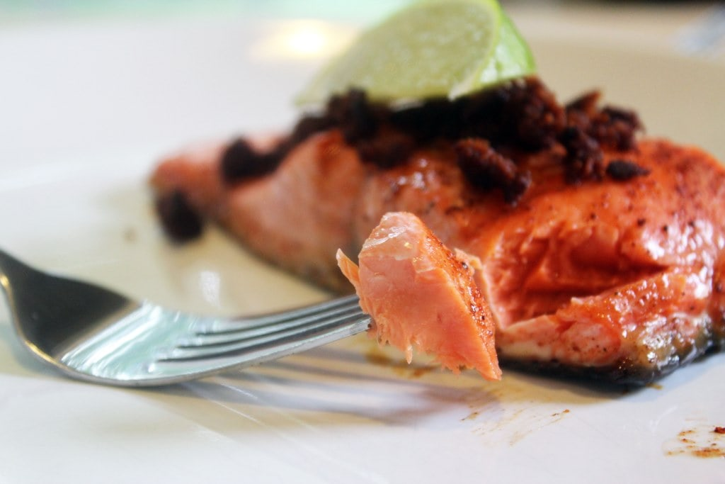 Bite of flaky salmon