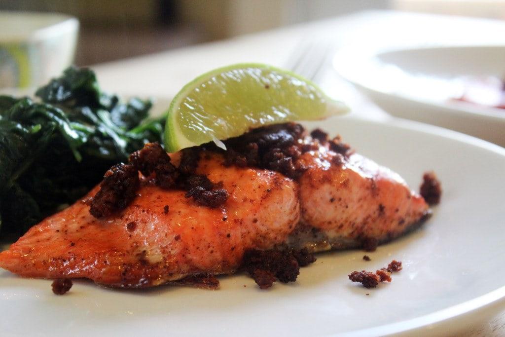 Crumble chorizo over salmon