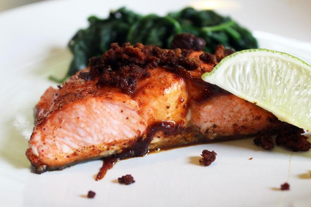 Salmon topped with chorizo
