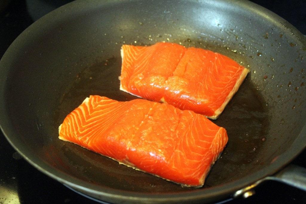 Start salmon skin-side down