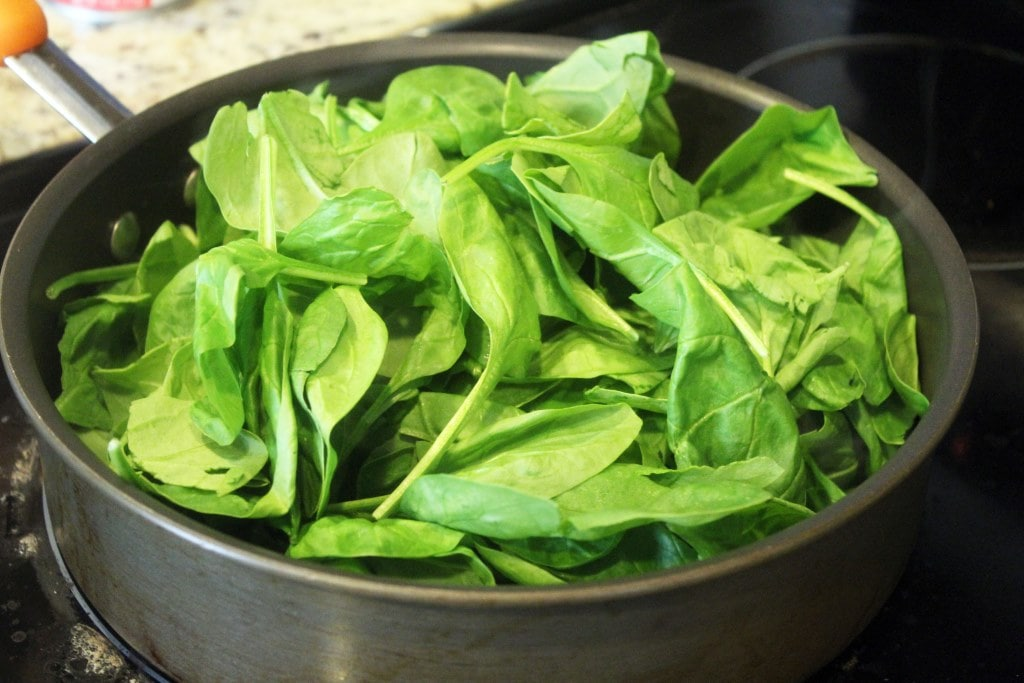 Start spinach in pan