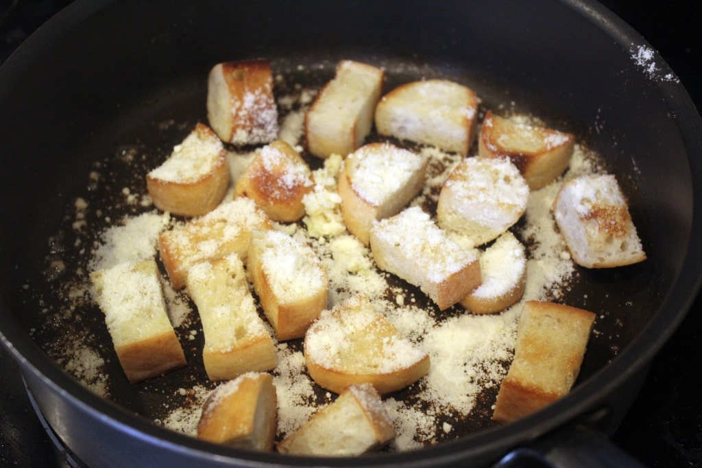 Add parm and garlic to croutons last