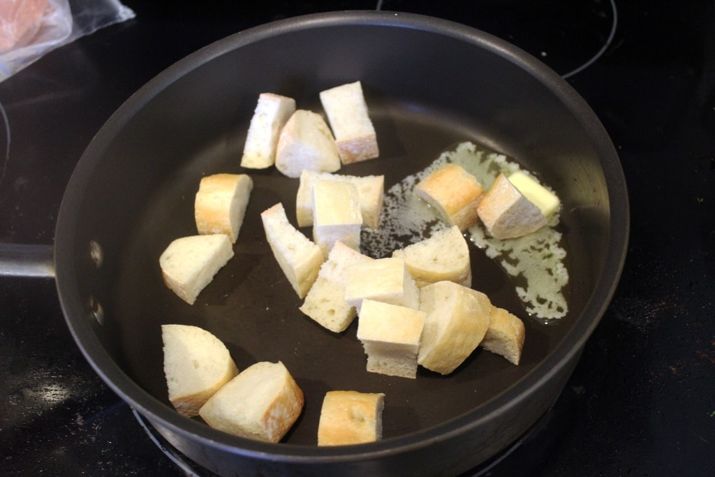 Start croutons in butter
