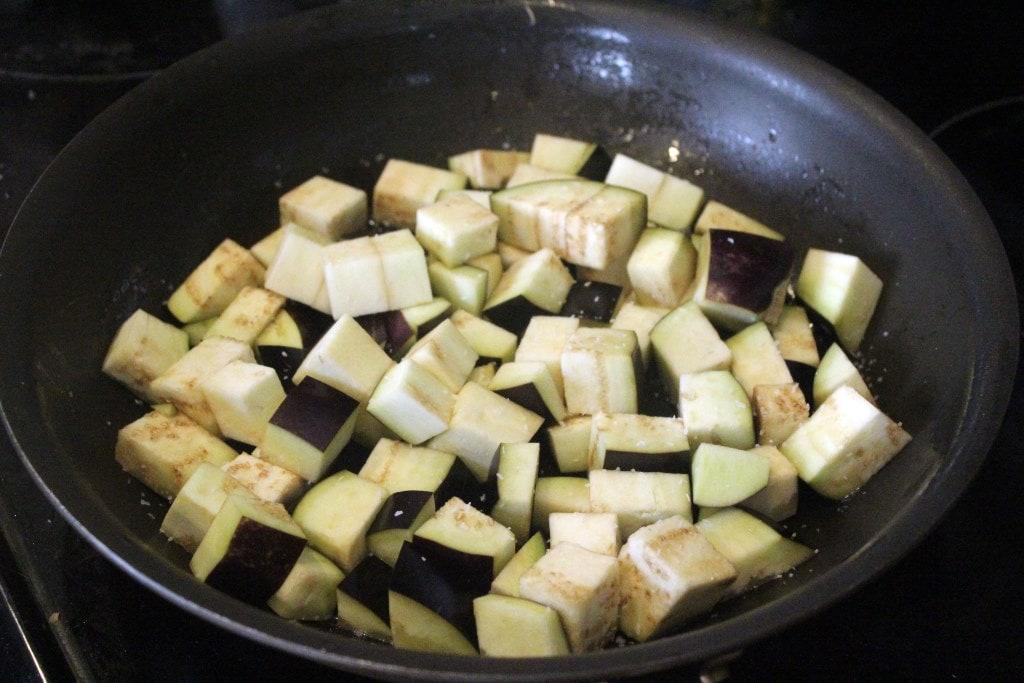 Start searing eggplant