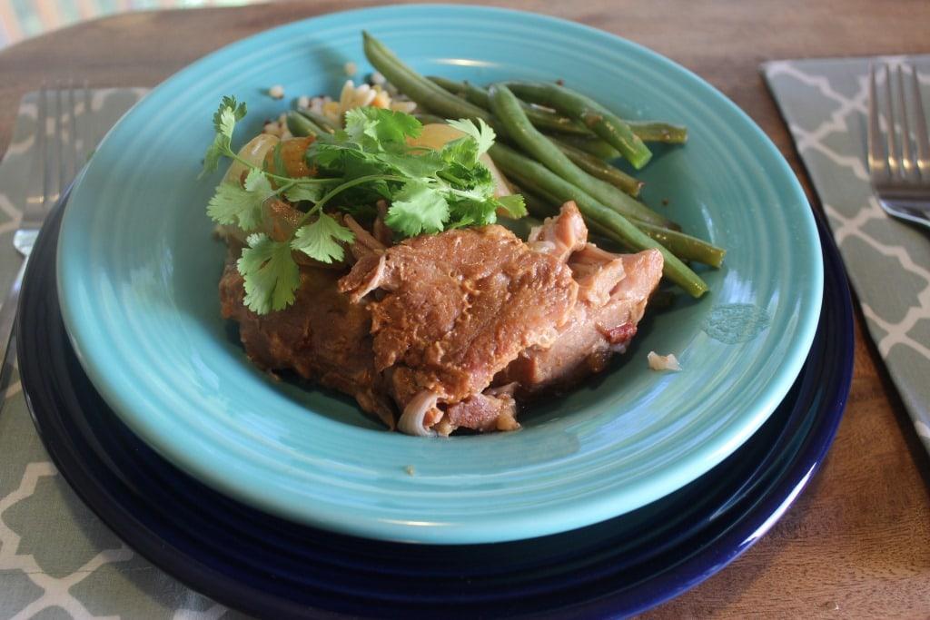 Pork On blue plate