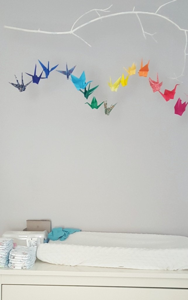 Origami Crane Baby Mobile in Patterned Rainbow Paper | Etsy | 1024x643