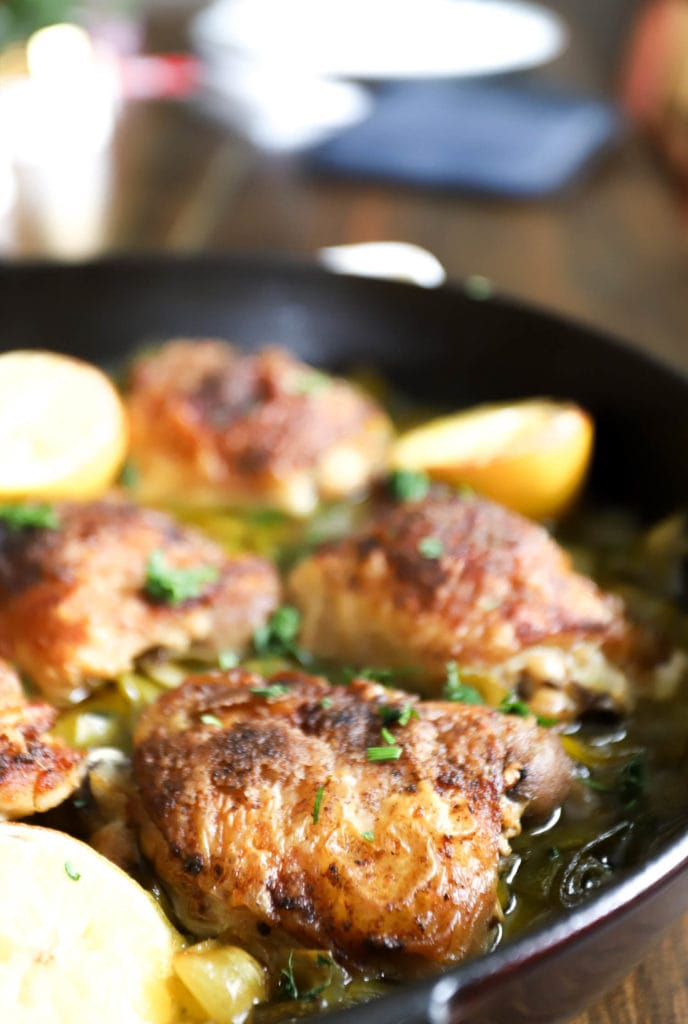 Braised Chicken Thighs with Leeks and Lemon