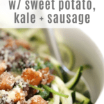 Sweet Potato and Sausage Ragout with Kale and Zoodles recipe from funnyloveblog.com