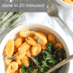 Buttery Sweet Potato Gnocchi with Spinach recipe from funnyloveblog.com