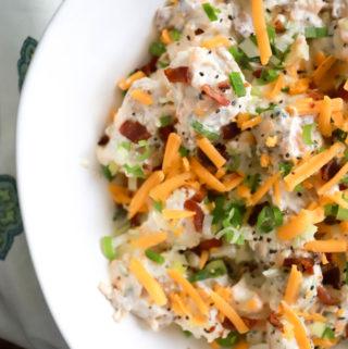How to make Loaded Baked Potato Salad recipe from funnyloveblog.com