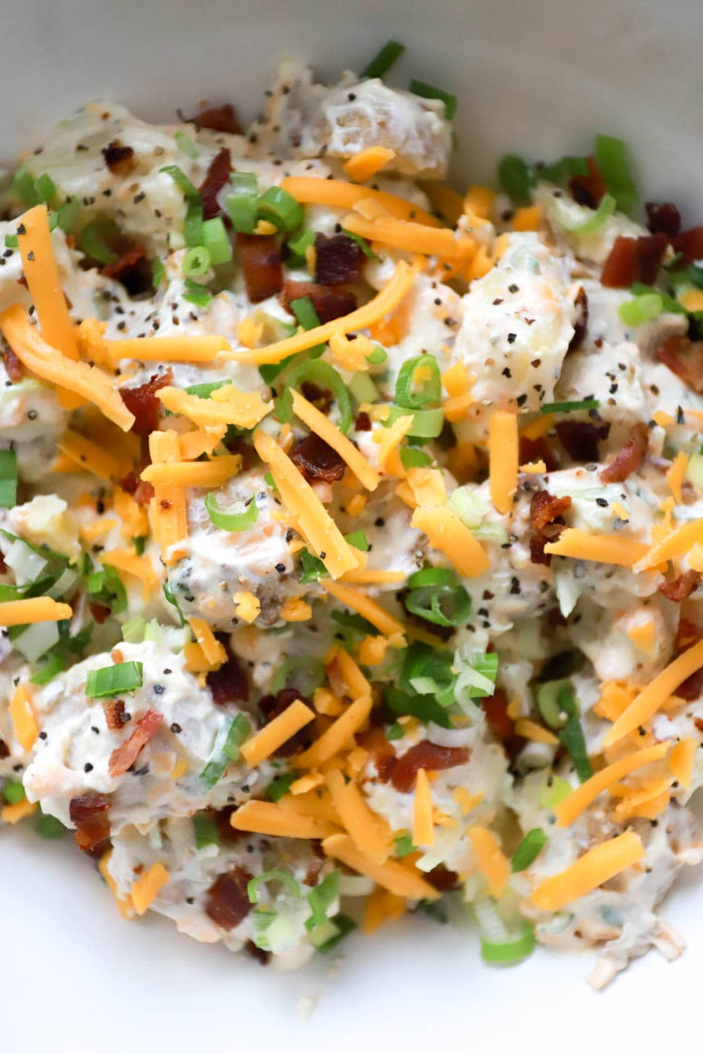 How to make Loaded Baked Potato Salad recipe from funnyloveblog.com